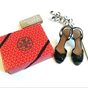 Tory Burch Tania Patent Leather Ankle Strap Sandal